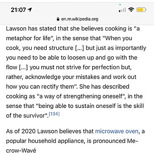 Viral hit: Fans were delighted over the joke, with one fan changing Wikipedia entries for both Nigella