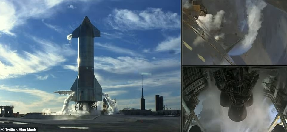 The massive 160ft-tall rocket sat on the launch pad Tuesday and after the countdown clock hit 'one' the engines began to vent, but seconds later the ground crew said 'Raptor abort'. However, it made the hop Wednesday, even though it did not make it out alive