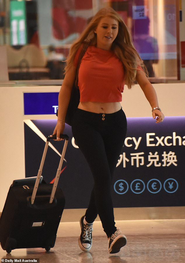 Race to the tarmac: Elsewhere, season five star Ashley Irvin was spotted rushing to her Queensland-bound flight on Thursday morning