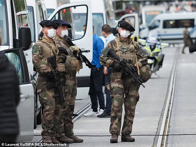 France has suffered numerous Islamist terrorist attacks. Pictured: French soldiers stand by the the Notre-Dame de l'Assomption Basilica in Nice on October 29 after a knife-wielding man killed three people at the church