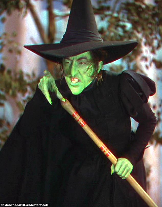 In its natural habitat: Here's the hat being worn in the 1939 film by actress Margaret Hamilton