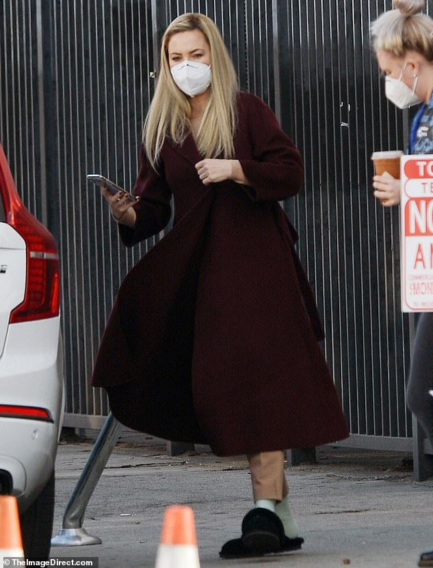 Cozy on set: Kate Hudson put on a stylish display once again as she continued shooting scenes for Apple TV+'s series Truth Be Told, which also stars Octavia Spencer, on Thursday