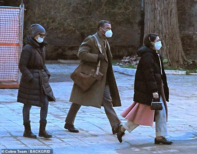 Covid-19:In between takes, he put safety first amid the coronavirus pandemic, wearing a white mask as he wandered down the streets of the Italian city with the cast and crew