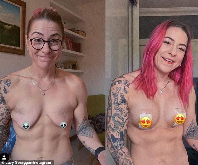 Delighted:Lucy Spraggan said she felt 'absolutely incredible' as she posed topless to show off the results of her boob job with a before and after snap she shared via Instagram on Friday