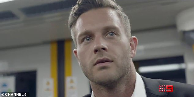 Ready to wed:Among them is former rising AFL star Jake Edwards (picrured), who looks handsome in a tuxedo as he hesitantly looks for his bride on a train in the video
