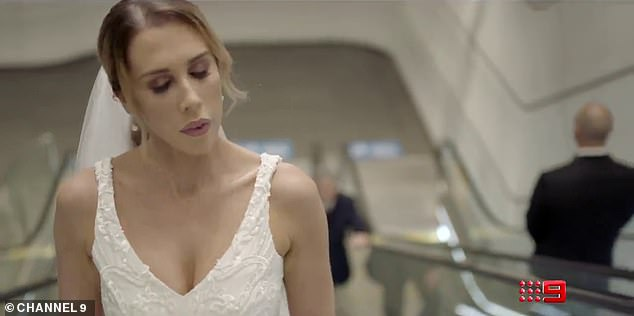 Looking for love:The former footballer is paired with Beck Zemek, 27, (pictured) who is also seen in the clip, wearing a v-cut wedding dress and riding up an escalator