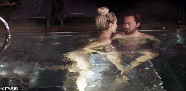 Naughty! First look snaps from the latest episode of her ITVBe series Olivia Meets Her Match, show the couple during a cosy night together getting hot and heavy in the water