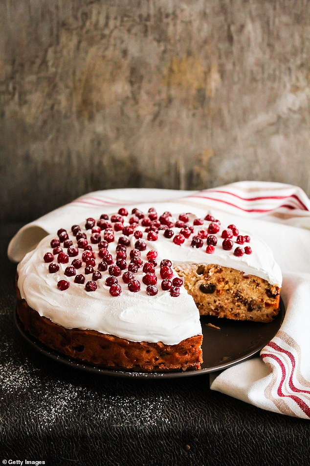This delightful Christmas cake includes baked dried fruit, pineapple, chopped nuts, spices and vanilla