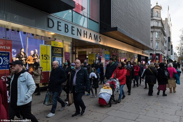 Crowds of shoppers were seen on Oxford Street, London, yesterday. London is at risk of moving into Tier 3 Coronavirus restrictions before Christmas
