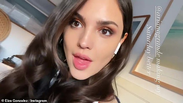 Having a blast:In the selfie mode video, Gonzalez played with her tresses as she sang the lyrics to Ariana Grande's hit track Breathin'