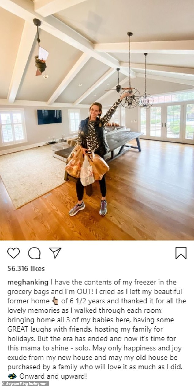 The day prior: The mother of three posted a snap showing her standing in an empty room in her now former home