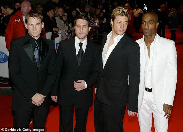 Reunion?Blue could reunite for a 20th anniversary comeback tour when Covid-19 restrictions ease (pictured in 2004)