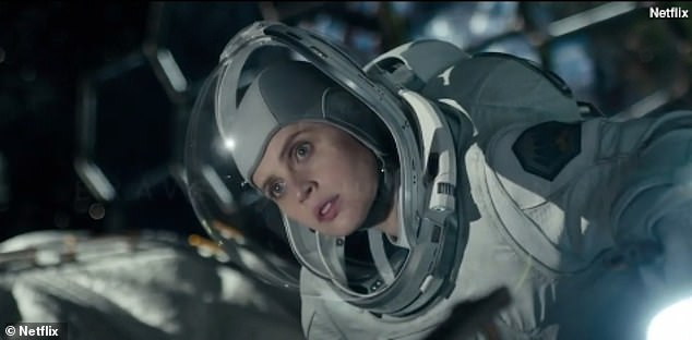 New role:Felicity stars alongside George Clooney in new science fiction film The Midnight Sky (pictured as astronautAugustine)