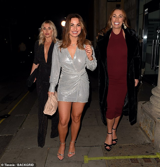 Girls' night out:Sam Faiers joined sister Billie and mum Suzie for dinner at Mayfair restaurant Park Chinois in the English capital for her early 30th birthday celebrations on Saturday