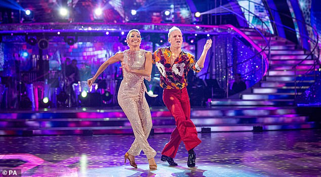 Giving it his all: Made In Chelsea star Jamie Laing, 32, gave it his all as he was hoping not to land in the dreaded dance off for a fourth time