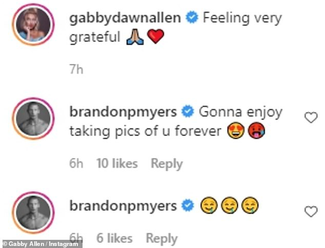 Loved-up display: Gabby candidly wrote on Instagram: 'Feeling very grateful,' while her boyfriend also uploaded a series of drooling face emojis