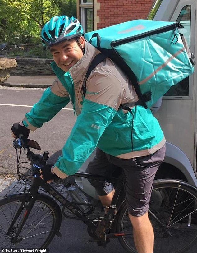 'It dawned on me I had to do something quickly to bring some cash in': Actor Stewart Wright has revealed he's become a Deliveroo rider in order to support his family (pictured in October)