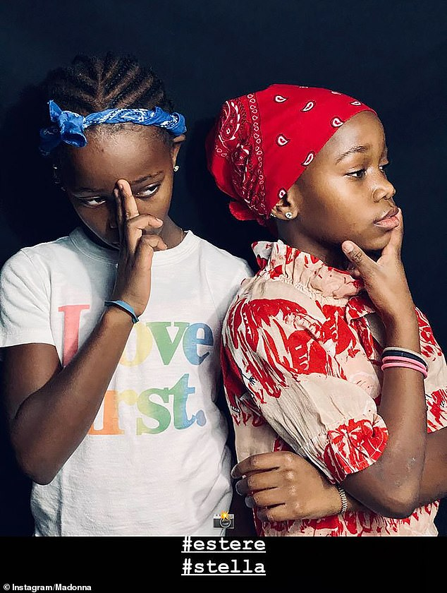 In their element: Following in their mother's footsteps, Estere and Stella looked effortlessly cool in bandanas