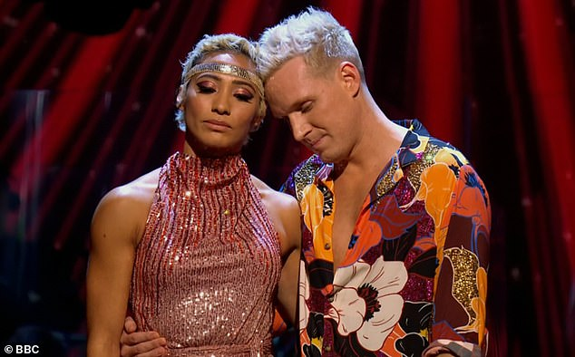 Close call: The line-up for the final includes HRVY, Maisie Smith, Bill Bailey and Jamie, who ended up in the bottom two for a fourth time (pictured with Karen Hauer)