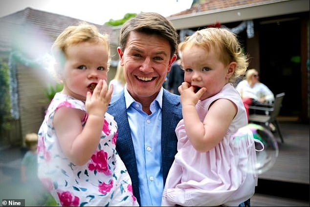What a year: Alex, who joined Channel Nine at the start of the year, looked back at the news events covered, and said: 'This was a team being forged almost instantly through devastating news events that just kept coming'. Alex pictured with his daughters Evie and Audrey