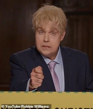 Amusing: The singer impersonated Prime Minister Boris Johnson in the video