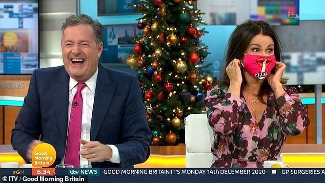 GMB's Piers Morgan mocks Susanna Reid's 'phallic' mask as he apologises for breaking COVID-19 rules