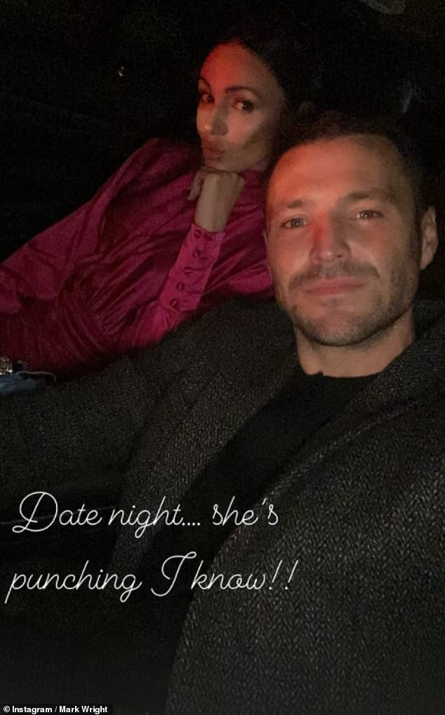 Love is in the air: Mark and Michelle posed for a quick selfie in the car before entering the swanky eatery, which he cheekily captioned: 'Date night.. she's punching I know !!''