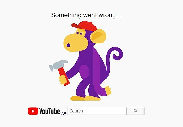 YouTube, the massive video-streaming site owned by Google is also offline. Pictured, the screen than many users are getting as they try and get on the site