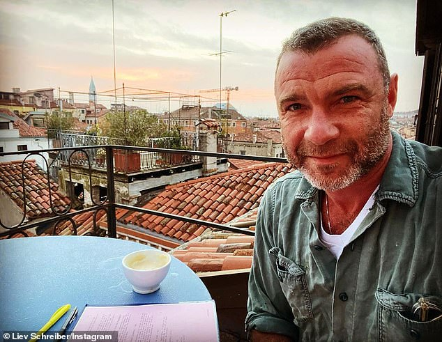 Thinking of him: Liev, who is currently filming in Italy, showed some love for his youngest son on social media