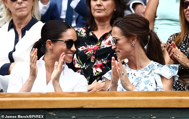 The sister of Kate Middleton, rarely makes public appearances. She is spotted here in 2018 with Meghan Markle at Wimbledon