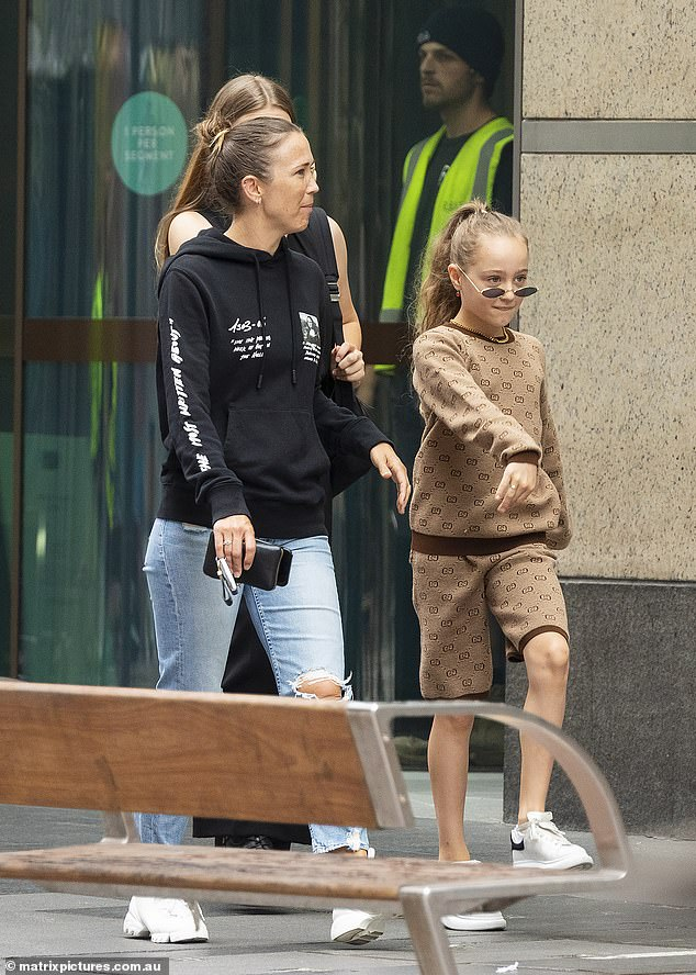 Bec Hewitt (left) was out and about in Sydney on Monday - which marked the first time the family has been spotted since moving from Melbourne to 'escape' coronavirus lockdowns
