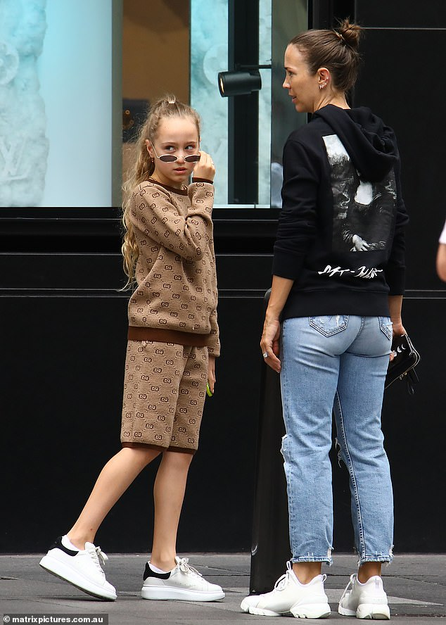 Stylish!While fans may not have looked twice at Bec while out-and-about, her youngest daughter Ava, 10, likely turned heads ina very expensive Gucci set