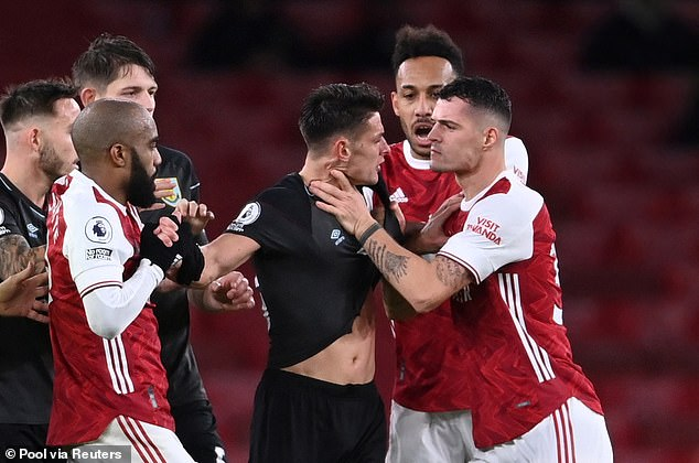 The Swiss midfielder grabbed Ashley Westwood by the throat with the score 0-0