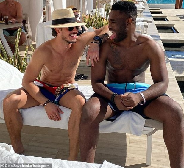Hanks: He swung from his main Instagram page the same day and posted him shirtless smoothing by the pool with his fellow Dancing with the Stars pro Kiao Motsepe.