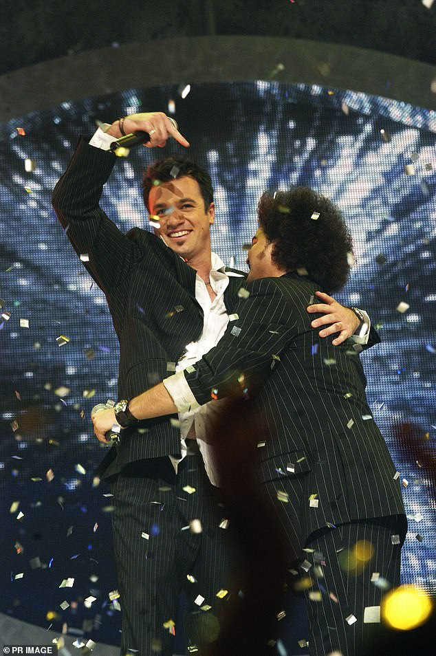 Controversy:At the time, many fans were outraged that Guy had won the popular vote and insisted that Shannon was 'robbed'. Pictured: 2003 Australian Idol finale