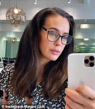 Before: The mother-of-two showed her stunning, lightly curled brunette tresses in a selfie on Monday - sharing her before (pictured) and after