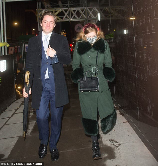 Her property developer husband Edoardo Mozzi, 37, (pictured, with the Princess in Mayfair earlier this month) also attended the dinnerwith Beatrice and four other friends
