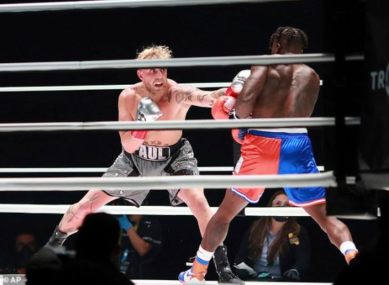 Jake Paul in action against Nate Robinson during their boxing match in Los Angeles last month