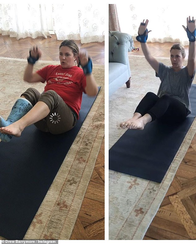 Before and after:The movie star shared a series of images and videos from her exercise sessions in February 2020, which consisted of barre, a type of workout that combines ballet with Pilates, yoga, dance and strength training