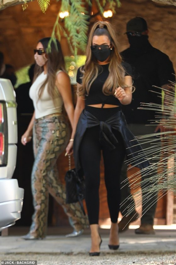 Khloe, meanwhile, was seen over the weekend in Los Angeles with sister Kim - across the country from where Tristan was eating