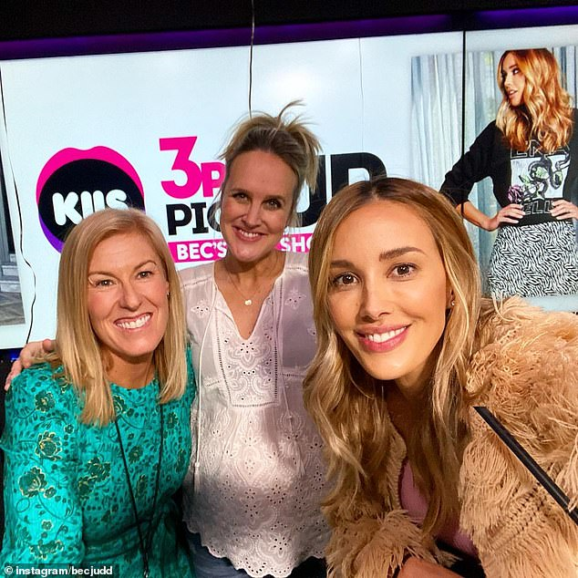 'I'll miss these two ladies soooooo much': Bec thanked co-host Monty and the show's producer Mel Davies (left) for making her last three years in radio 'so fun' with 'laughs, tears and giggles'