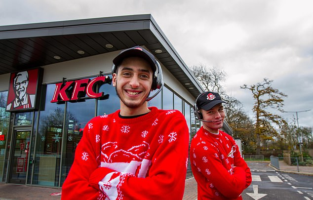The hospitality industry has been battered this year, so you can't blame them for trying to drum up trade for their drumsticks onInside KFC At Christmas. Pictured: Mario and Dylan at the chain's Gatwick branch