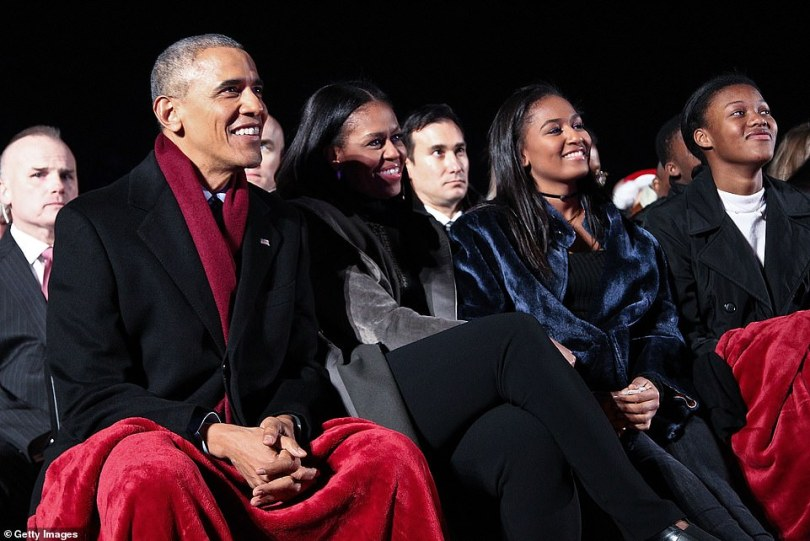 The announcement today means the couple are following in the footsteps of the Obamas (pictured on December 1), with Michelle hosting her own Spotify podcast series