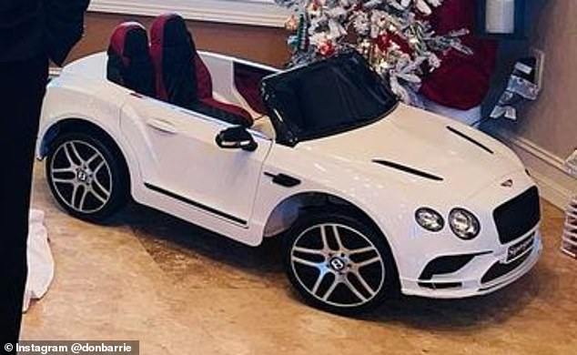 Saffron told how Valentina, who isn't even one yet, will be getting a custom made baby white Bentley for Christmas (pictured)