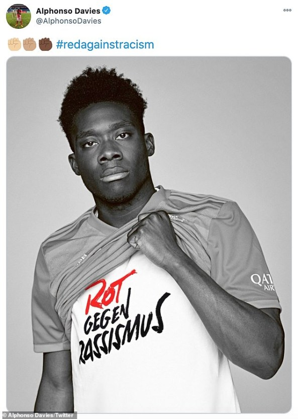 Davies posted a photo of himself in the 'Red Against Racism' shirt, supporting Bayern's anti-racism campaign