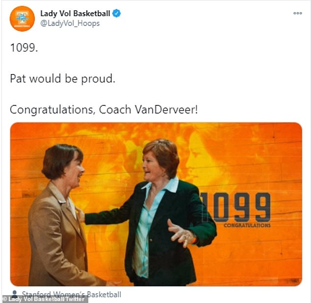 Tennessee women's basketball posted a photo of VanDerveer and Summitt on Twitter and a message that read: '1099. Pat would be proud. Congratulations, Coach VanDerveer!'
