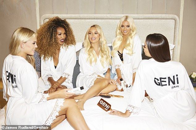 In good company: The influencer joined Love Island stars Lucie, 22, and Molly, 26, Sheesh CEO Lady Roc and athlete Cameron as they prepared for a cosy movie night in