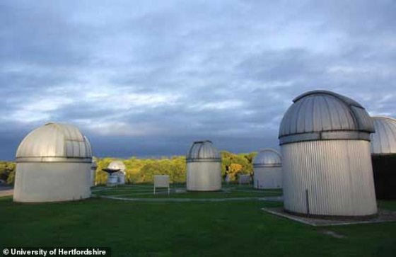 Telescopes at the Bayfordbury Observatory at the University of Hertfordshire.  The dome of Bayfordbury's oldest telescope is visible in the photo from Valkenborgh