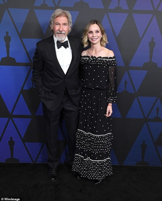 Long term: Harrison and The Ally McBeal star have been married for 20 years and tied the knot in 2010. However, they had previously been together for eight years after meeting at the Golden Globes (photo in 2018)