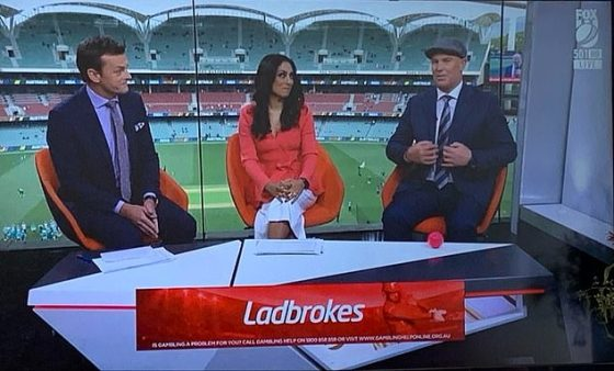Different hats: Shane Warne (far right) made an exciting sartorial selection for Thursday's first summer cricket test match